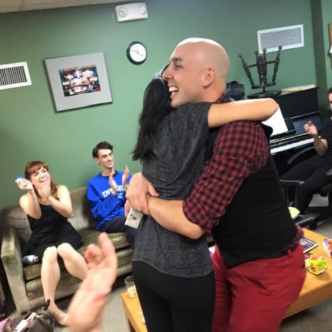 Justin McCoubry gets a hug from Aubrie-Mei